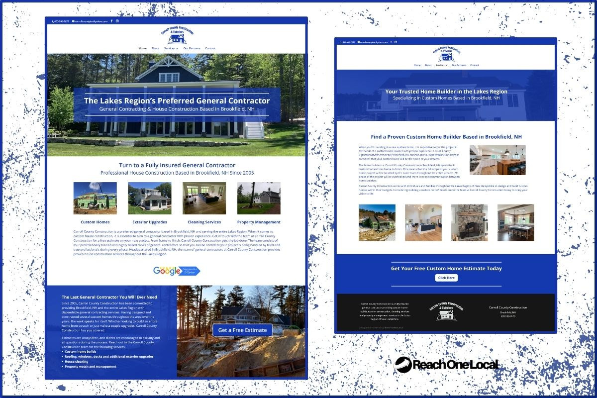 screenshots of an optimized website for a general contractor and custom home builder