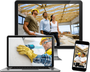 photos of general contractors on computer and phone screens