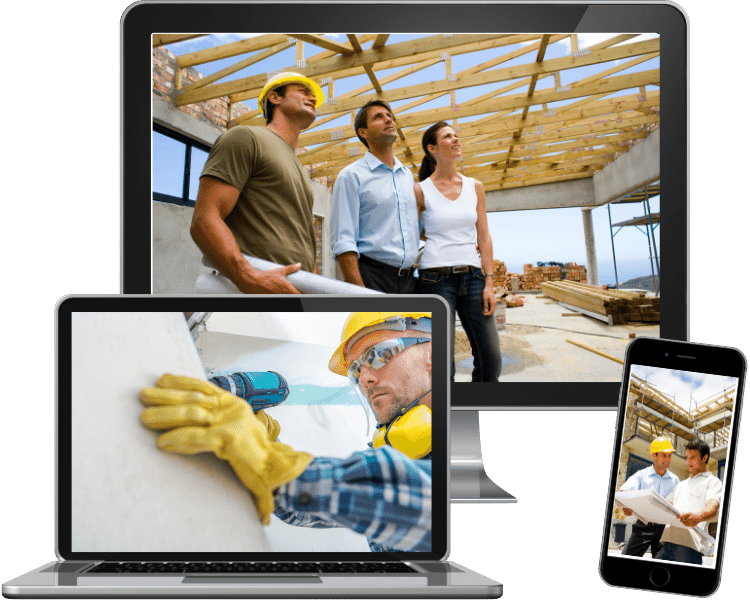 background photos of general contractors on a laptop, desktop and mobile iphone