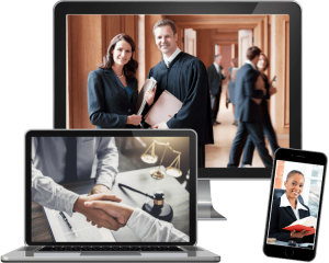 lawyers on computer and phone screens