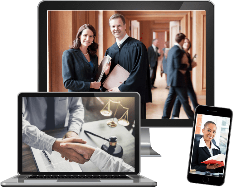 photos of law attorneys on computer and phone screens