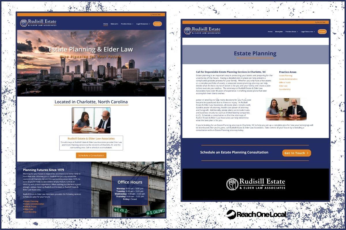 screenshots of a law firm's website